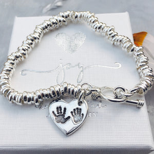 Sibling Handprint or Footprint Charm Sweetie Bracelet - Joy Impressions
