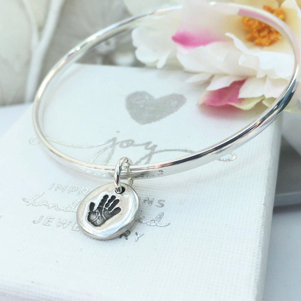 Mini Circle Handprint or Footprint Charm Bangle - Joy Impressions