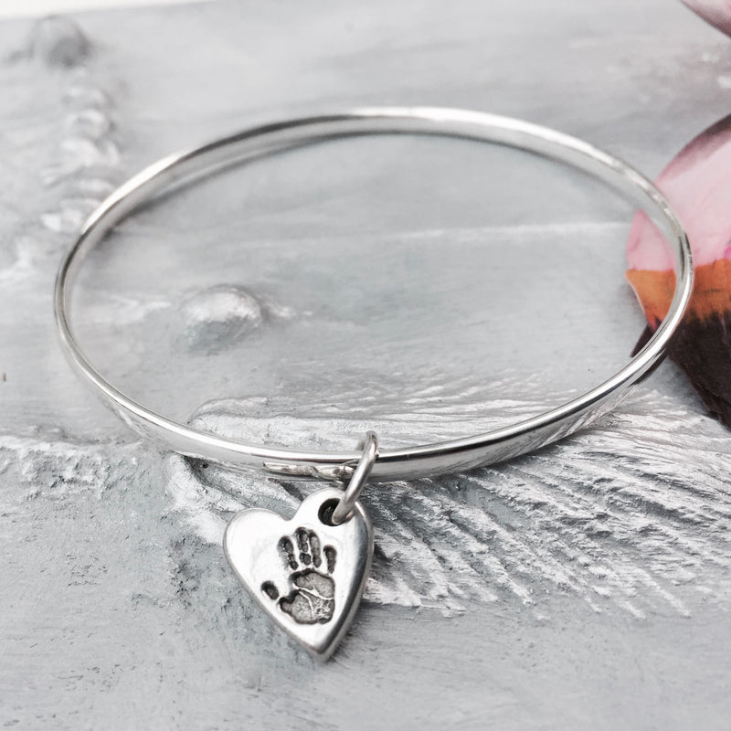 Mini Heart Handprint or Footprint Charm Bangle - Joy Impressions