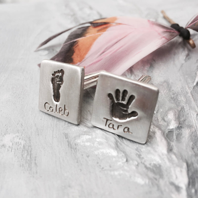 Square Handprint Cufflinks - Joy Impressions