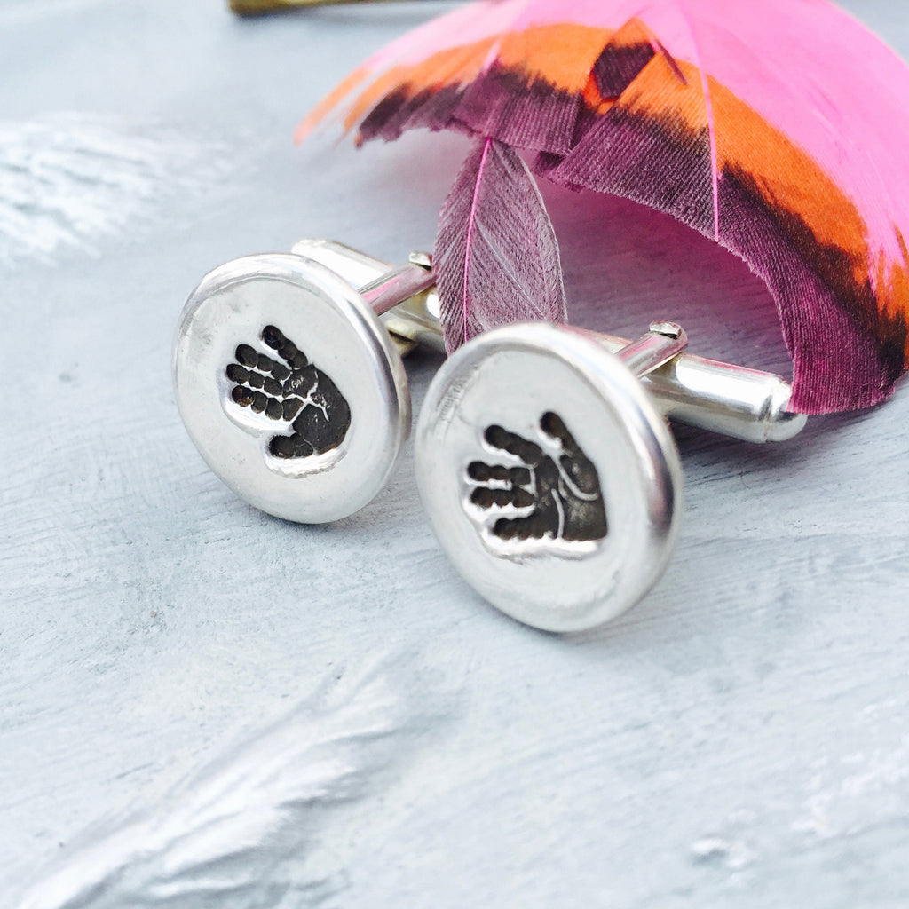 Circle Handprint Cufflinks - Joy Impressions