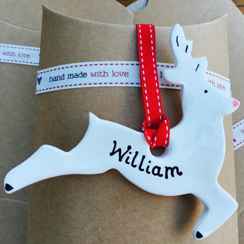 Ceramic Personalised Reindeer Decoration - Joy Impressions