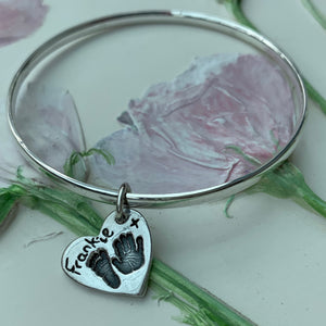 Hand & footprint charm bangle