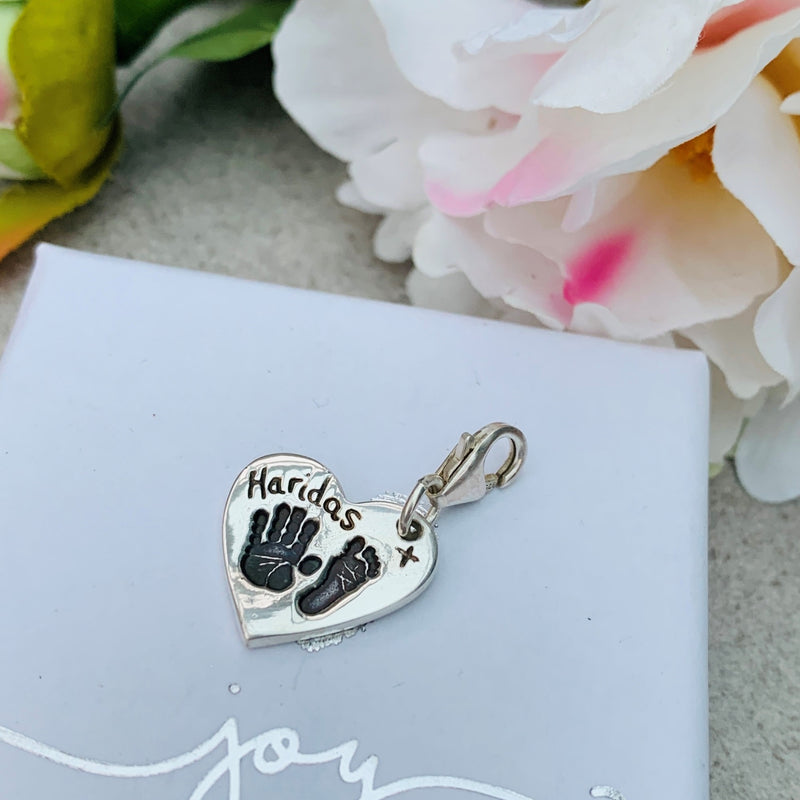 Hand & Footprint Heart Charm with Clasp by Joy Impressions