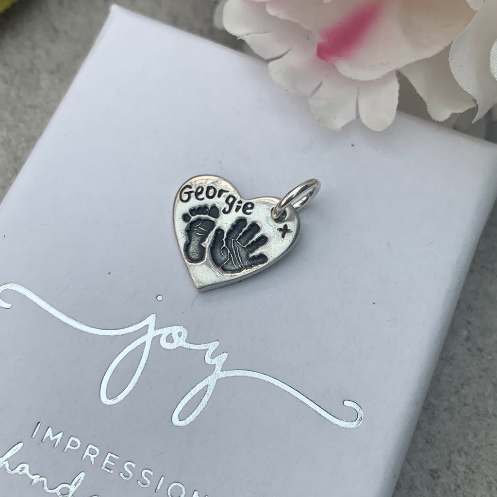 Hand and Footprint Sterling Silver Charm by Joy Impressions - close up