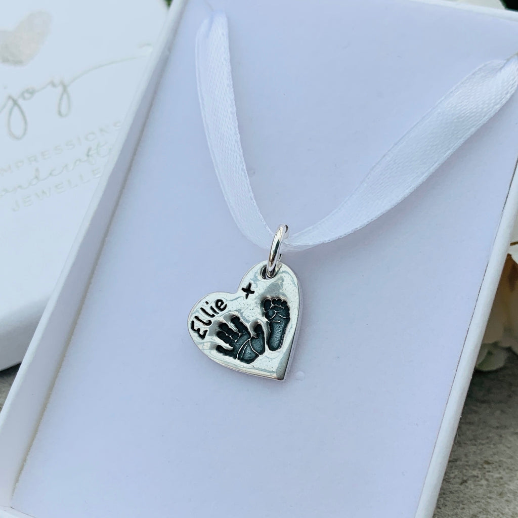 Hand and Footprint Sterling Silver Charm by Joy Impressions presented in jewellery box
