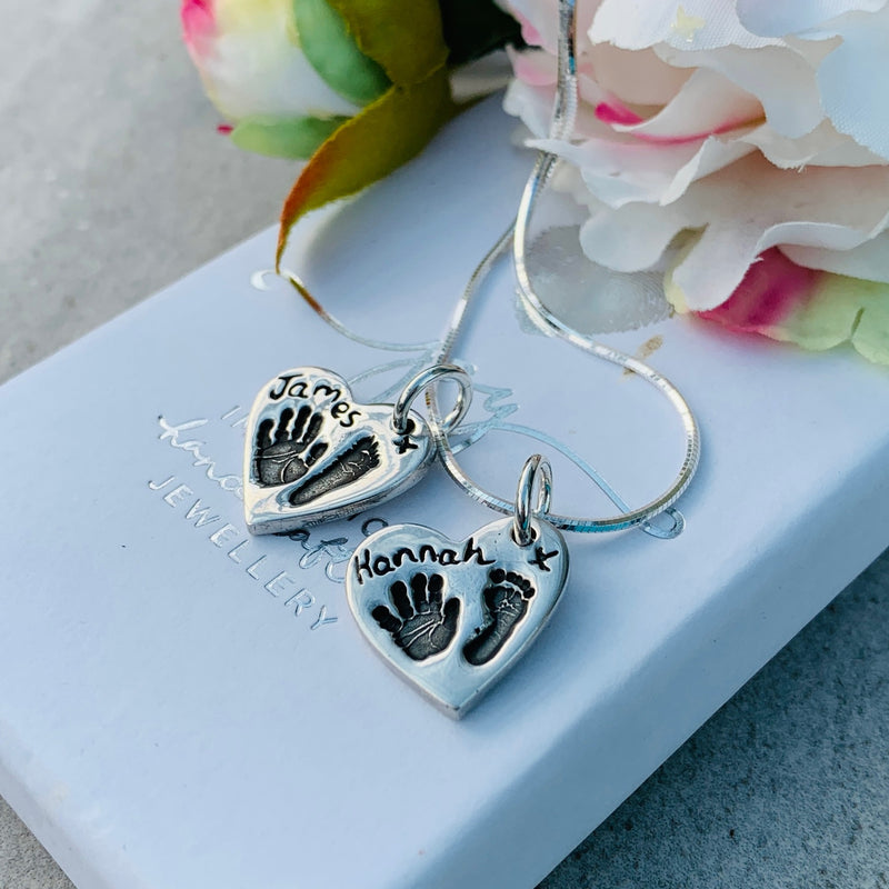 Hand and Footprint Heart Necklace with 2 Charms
