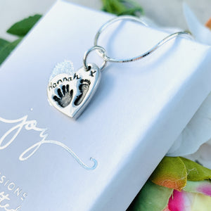 Hand and Footprint Charm Necklace by Joy Impressions with name and kiss on front