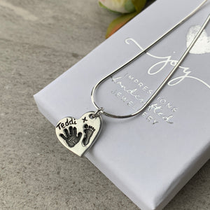 Hand and footprint charm necklace by Joy Impressions