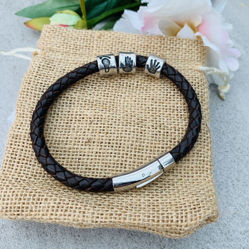 Mens Leather Bracelet with 3 personalised handprint beads by Joy Impressions