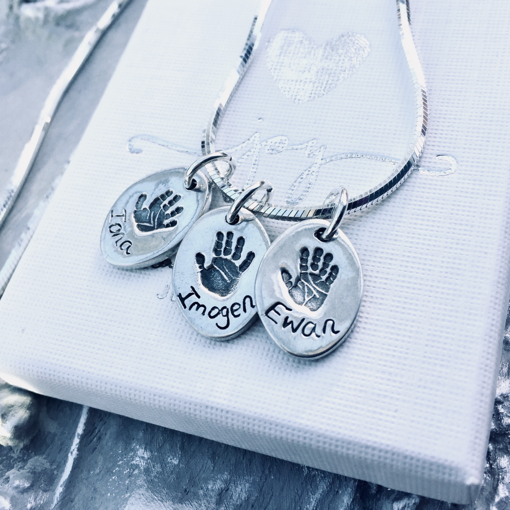 Oval Handprint or Footprint Charm Necklace - Joy Impressions