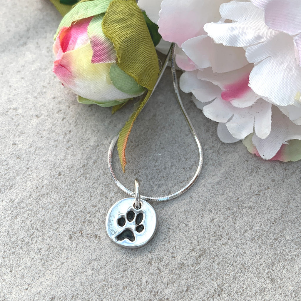 Pawprint Circle Charm Necklace by Joy Impressions