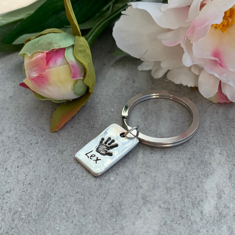 Personalised Rectangle Handprint Keyring using your loved ones prints by Joy Impressions