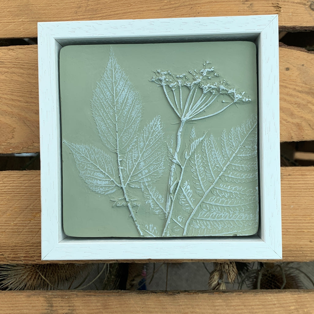 Square Cow Parsley, Fern and Bramble Leaf Cast Framed - Green & White - Joy Impressions