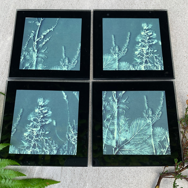 Green Botanical Moor Inspired Glass Coasters by joy impressions