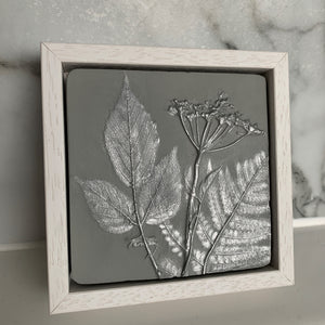 Square Cow Parsley, Fern and Bramble Leaf Cast Framed - Light Grey and Silver - Joy Impressions