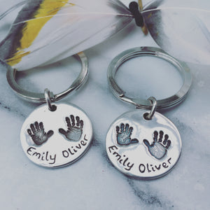 2 prints 2 names circle keyring by Joy Impressions