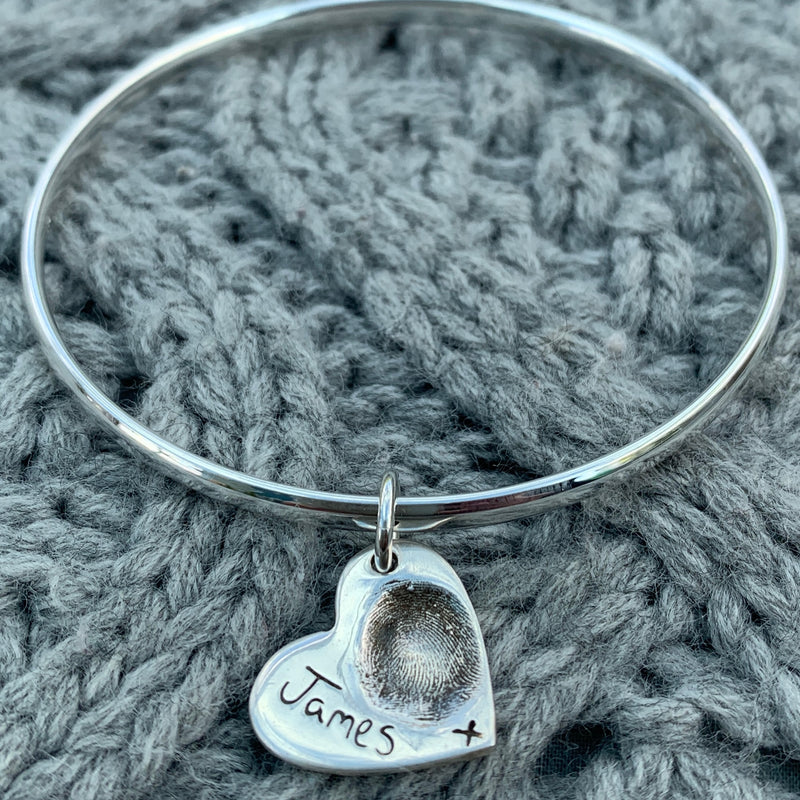 Heart Fingerprint Bangle - Joy Impressions