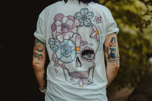 Peony Day of the Dead Sugar Skull Tattoo Front & Back Print T-shirt
