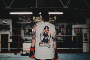 FIGHT LIKE A GIRL Boxing Girl Tattoo Muscle Tank Back Print