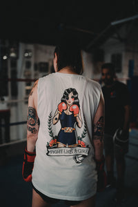 FIGHT LIKE A GIRL Boxing Girl Tattoo Muscle Tank