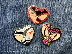 Cheeky Spotty Bow Booty Heart Tattoo Hard Enamel Pin