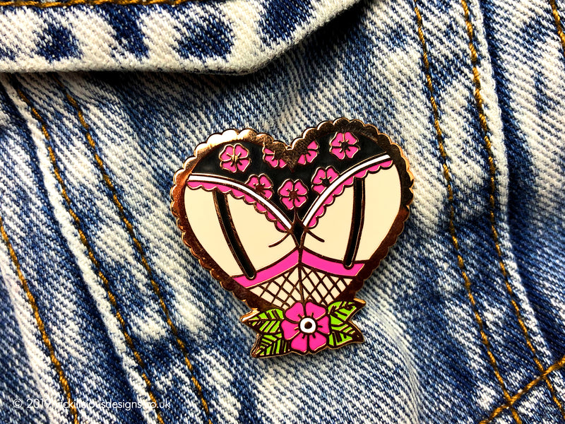 Cheeky Blossom Booty Heart Tattoo Hard Enamel Pin