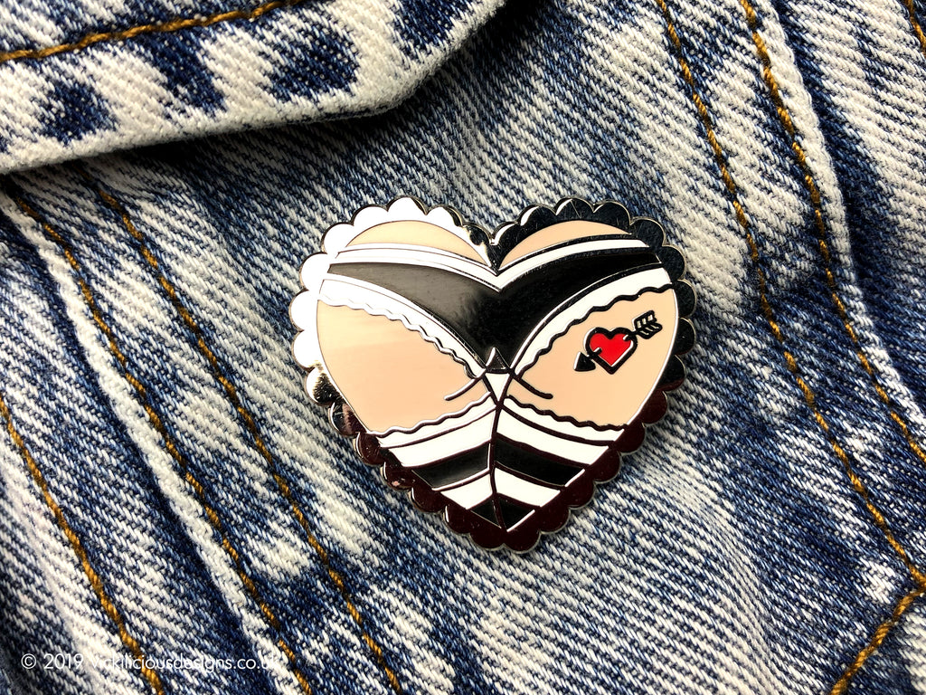 Cheeky Punk Girl Booty Heart Tattoo Hard Enamel Pin
