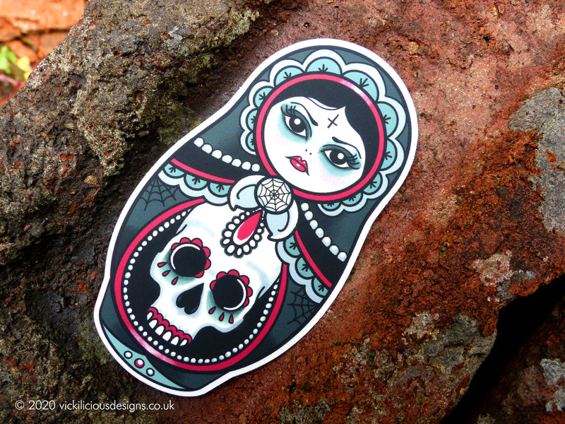 CUTE AS HELL Goth Girl Russian Doll Tattoo Sticker