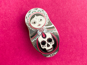 Cute as Hell Goth Girl Russian Doll Hard Enamel Pin