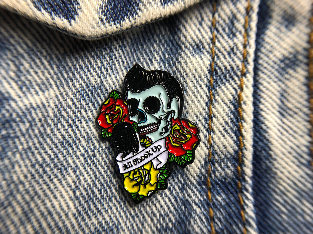 ALL SHOOK UP rockabilly sugar skull tattoo Soft Enamel Pin on jacket