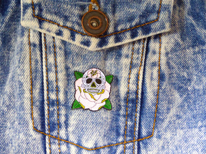 LIFE IS ROSY Sugar Skull Tattoo Soft Enamel Pin on denim jacket