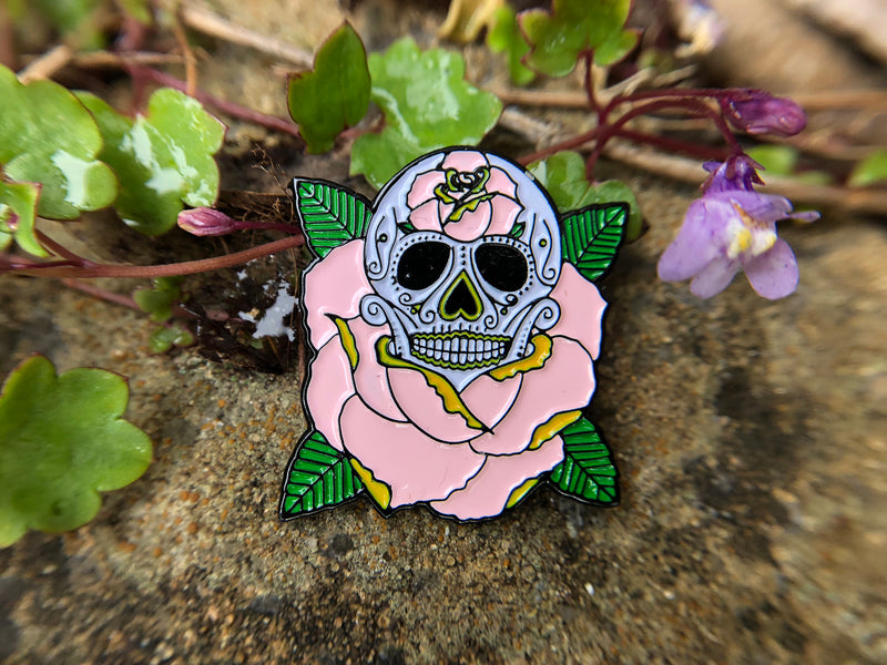 LIFE IS ROSY Sugar Skull Tattoo Soft Enamel Pin