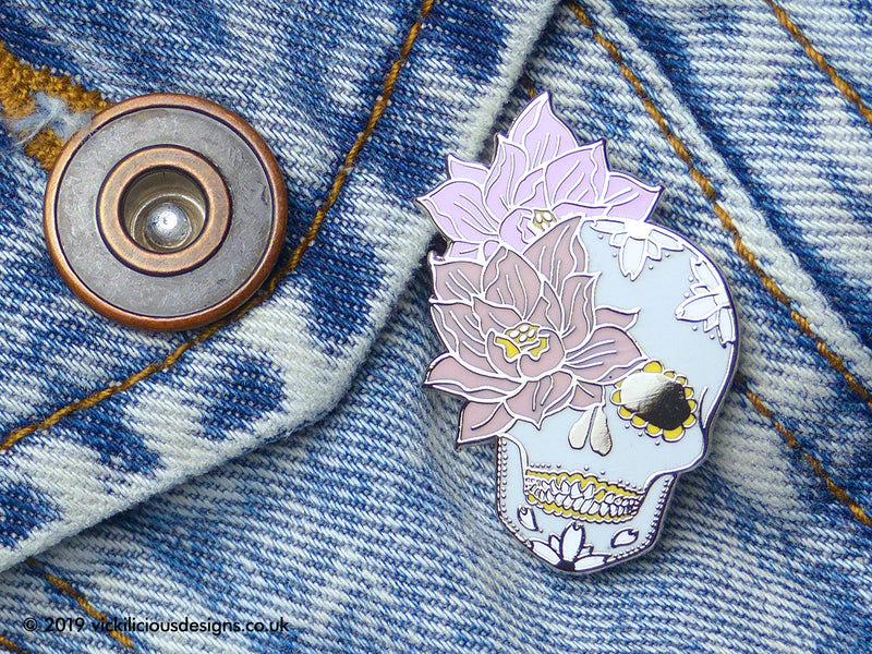 Sugar Skull & Lotus Flower Dreams Hard Enamel Pin