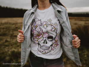 Worn to Death Lotus Flower and Sakura Sugar Skull T-shirt