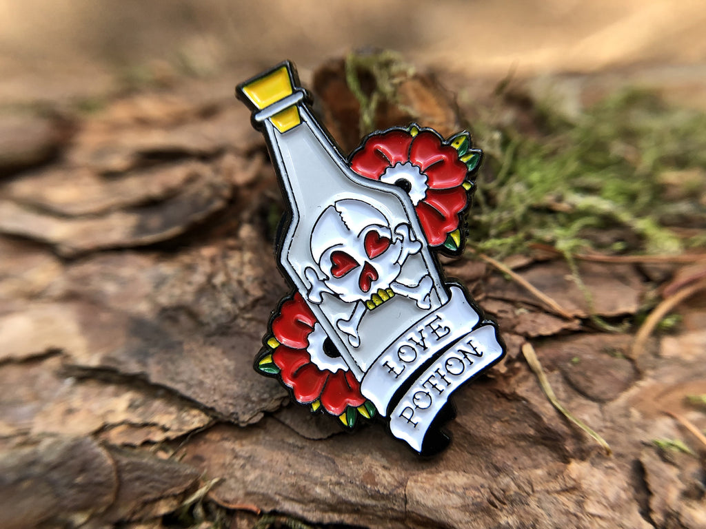 Love Potion & Skull Tattoo Soft Enamel Pin