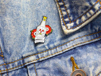 Love Potion & Skull Tattoo Soft Enamel Pin on denim jacket