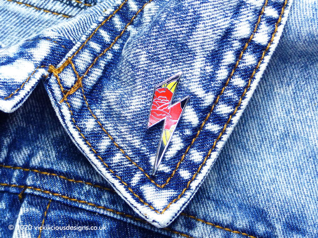 Love-Struck Lightning Bolt Tattoo Hard Enamel Pin