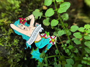 SAILORS RUIN Mermaid Pinup Girl Tattoo Soft Enamel Pin