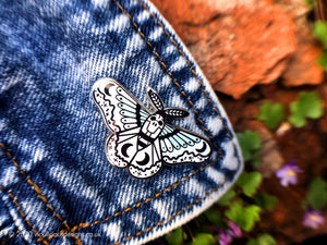 DREAMY MOON MOTH HARD ENAMEL PIN