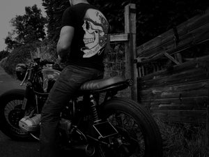 LIVE TO RIDE Biker Skull Tattoo Style Front and Back Print T-shirt