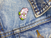 Peony & Love Heart Sugar Skull Tattoo Soft Enamel Pin on jacket