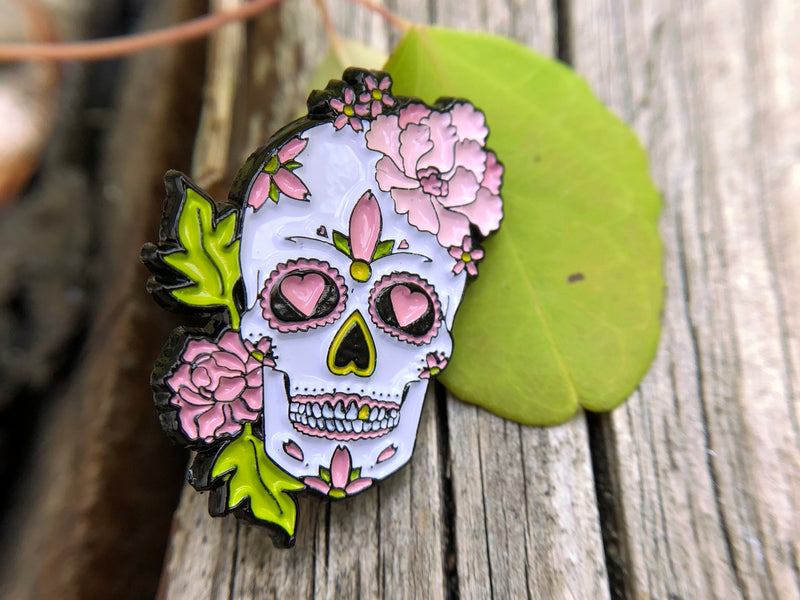 Peony & Love Heart Sugar Skull Tattoo Soft Enamel Pin