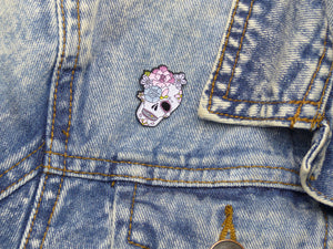 Peony & Rose Sugar Skull Tattoo Soft Enamel Pin on jacket