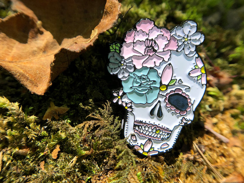 Peony & Rose Sugar Skull Tattoo Soft Enamel Pin