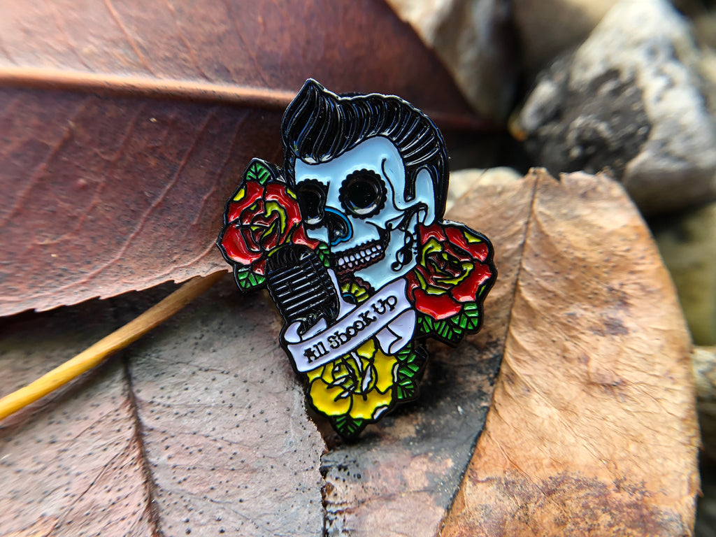ALL SHOOK UP rockabilly sugar skull tattoo Soft Enamel Pin