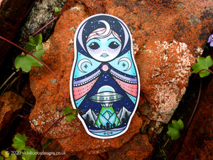 STAY WEIRD Alien Russian Doll Tattoo Sticker