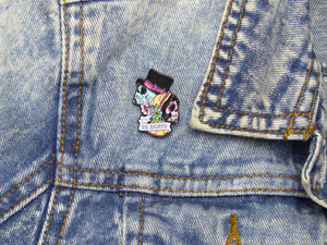 Til Death Bride & Groom Sugar Skull Tattoo Soft Enamel Pin on jacket