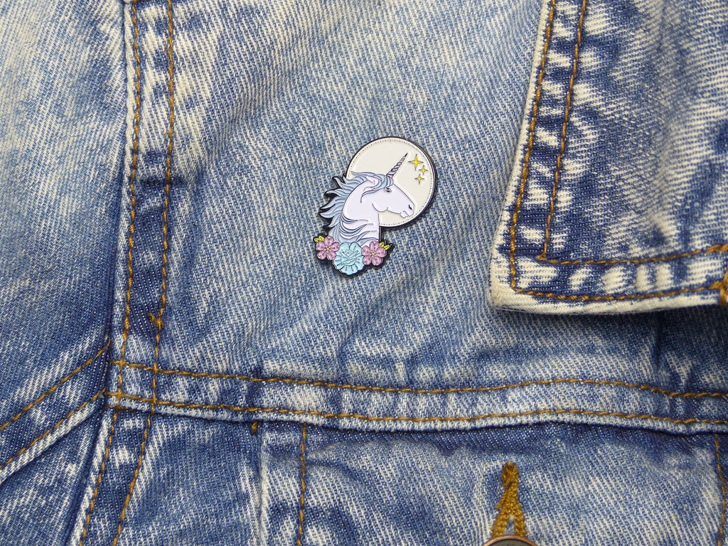 Unicorn Tattoo Soft Enamel Pin on jacket