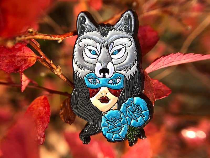 Winter Wolf Goddess Tattoo Soft Enamel Pin